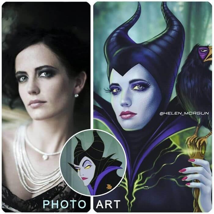 18-Eva-Green-As-Maleficent-Helen-Morgun-Celebrities-and-Disney-www-designstack-co