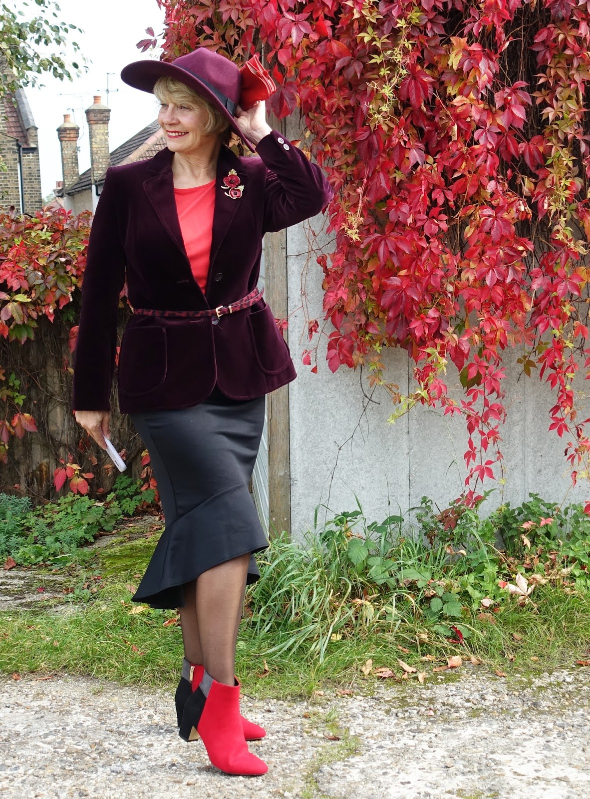 Gail Hanlon wears a burgundy fedora in the October 2017 hat challenge at Is This Mutton