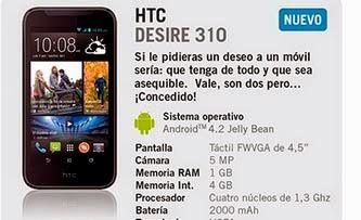 HTC Desire 310 con YOIGO: precios y características