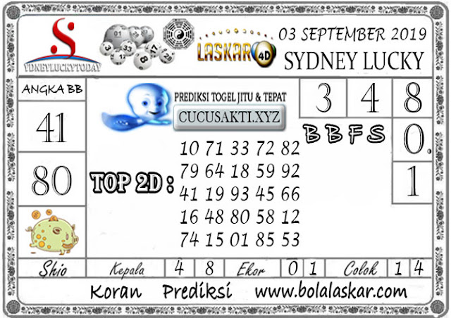 Prediksi Sydney Lucky Today LASKAR4D 03 SEPTEMBER 2019