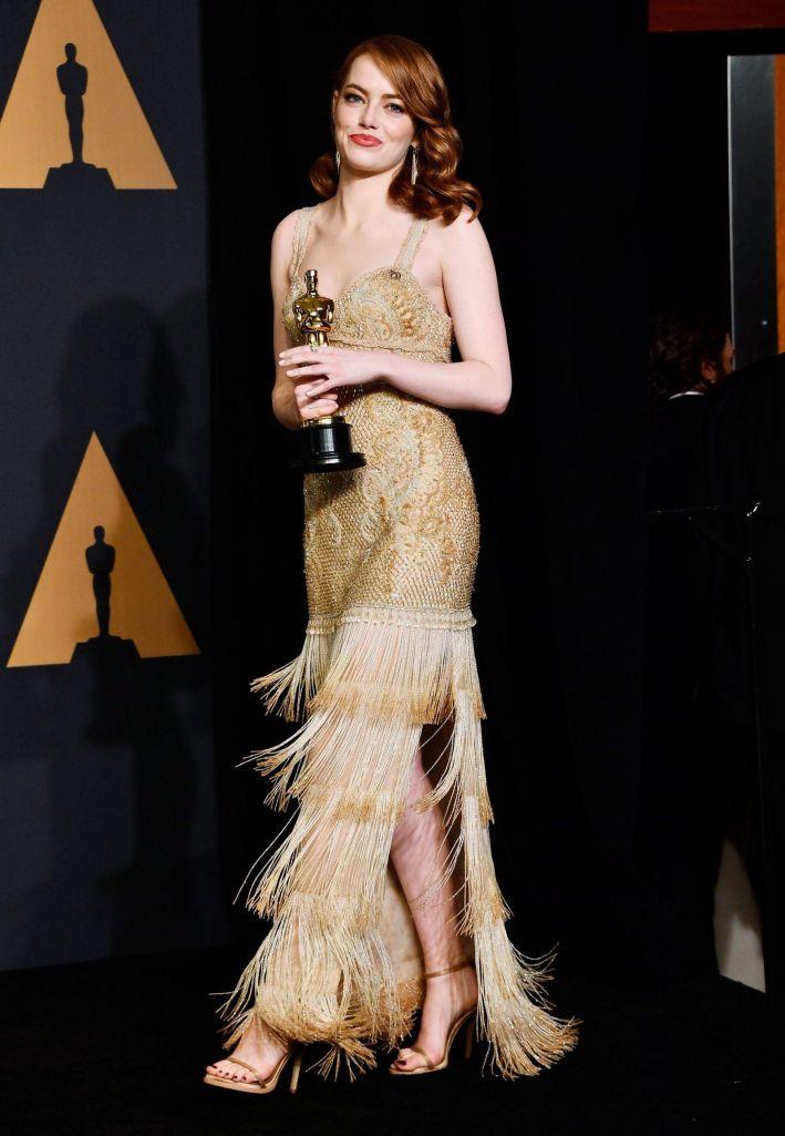 Emma Stone robe oscars 2017 dorée