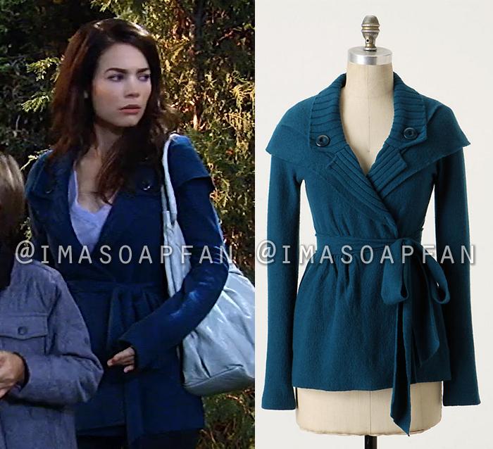 Elizabeth Webber's Blue Sweater Coat - General Hospital, Season 55 ...