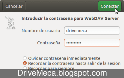 Nos autenticamos con el servidor WebDav