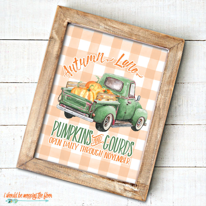 Beautiful Green Vintage Truck with Pumpkins