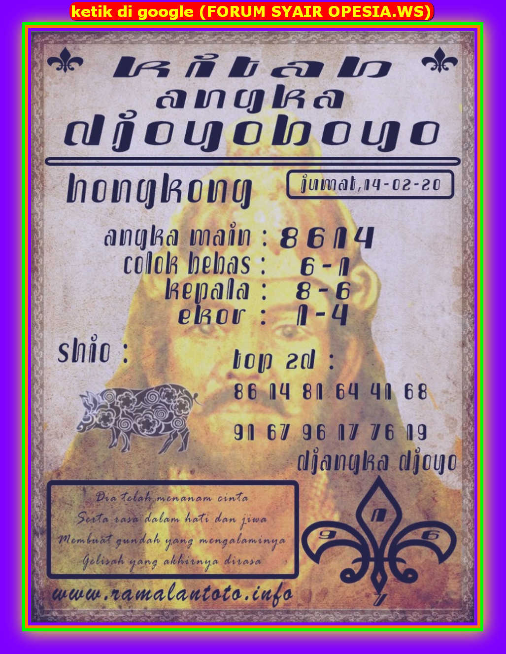 Kode syair Hongkong Jumat 14 Februari 2020 95