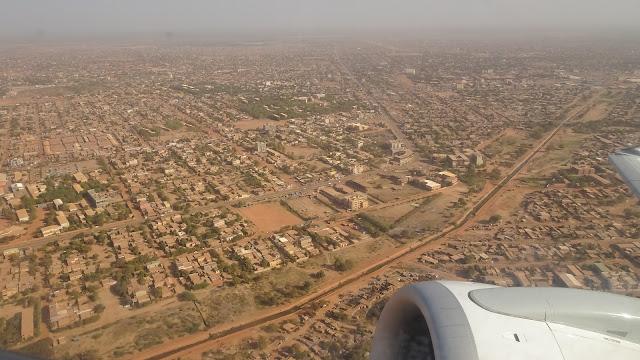 Flying inside a plane over Ouagadougou