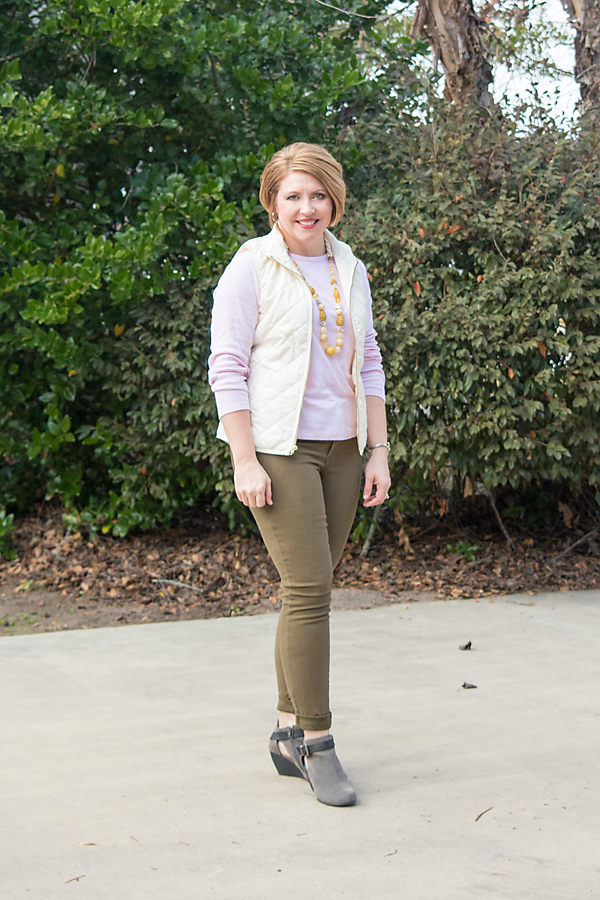 blush and olive with mustard, fall colors, vest outfit