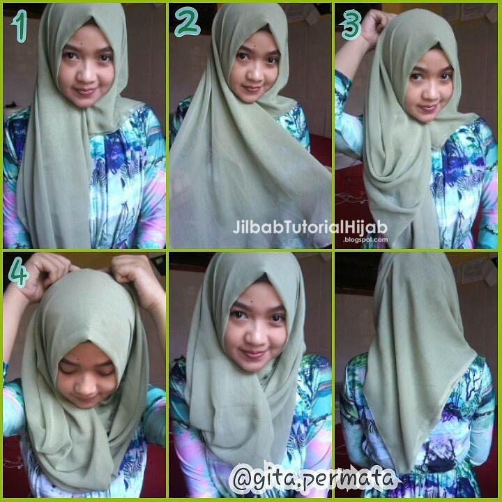 tutorial cara memakai hijab segi empat sederhana terbaru