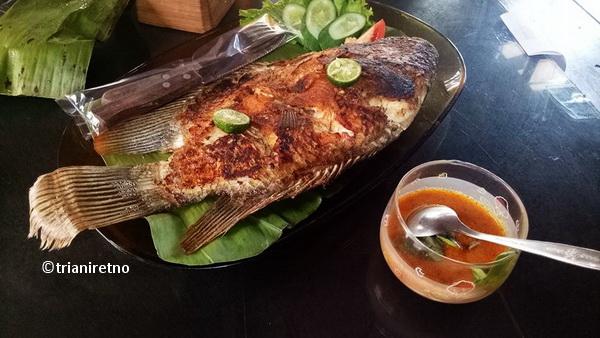 Gurame bakar dan sambal cobek Saung Legit Bandung