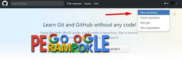 Klik new repository pada dashboard github