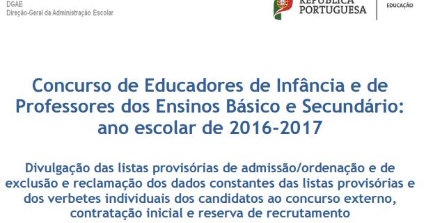 professores lusos concursos de docentes 2016 2017 nota