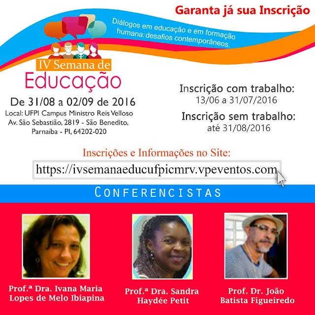 Inscrições para a IV Semana de Educação do Curso de Pedagogia da UFPI estão abertas