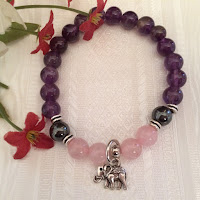 Fertility Bracelet with Rose Quartz, Amethyst and Elephant Charm Used in Feng Shui