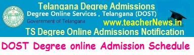 TS Degree Online Admission Schedule dost.cgg.gov.in BA B.Sc B.Com Notification Last Date