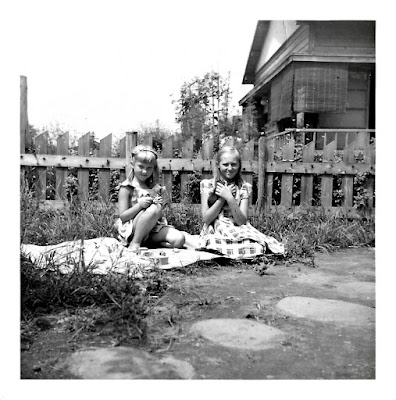 Photo of Tatiana Vasilev aka Tanya K. Sarsfield, and Elena K. Vasilev, taken in early 1950's Tokyo, Japan.