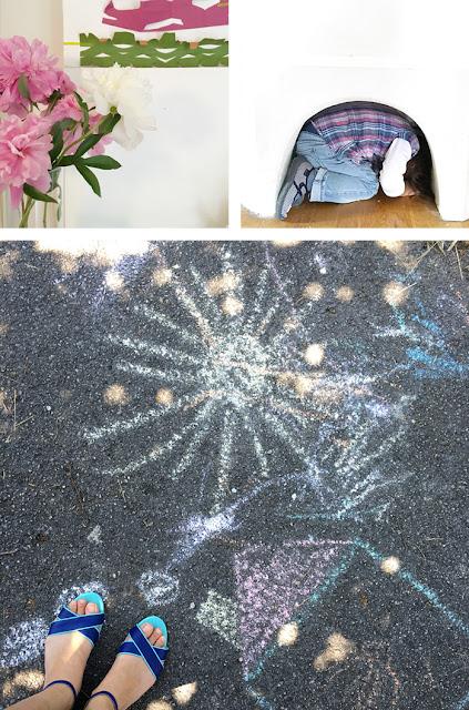 Straßenkunst mit Kreide und Papierschnitte