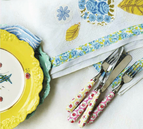 Embroidered+Tablecloth+and+Vintage+plates Retro Home DIY Ideas for Decor | Colourful Flea Market Thrift Style