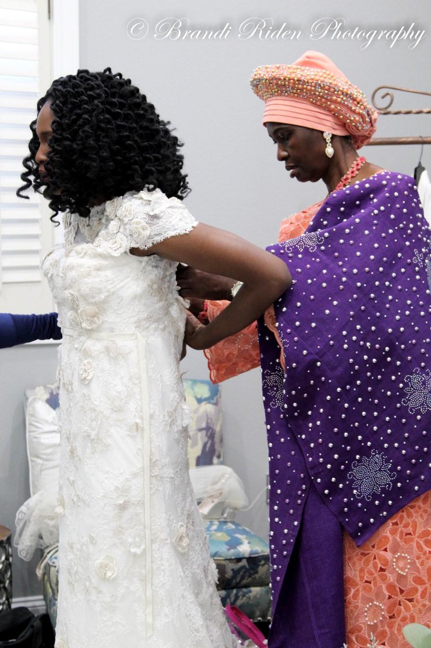 Nkem and Jon's Wedding. Photography by Brandi Riden. Wedding Dress Melissa Sweet from David's Bridal