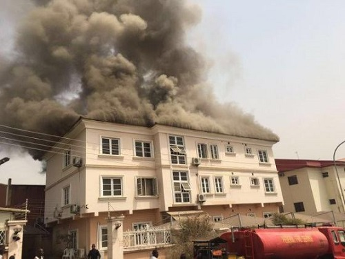 NIGERIA;SURE P Building set on fire more pictures