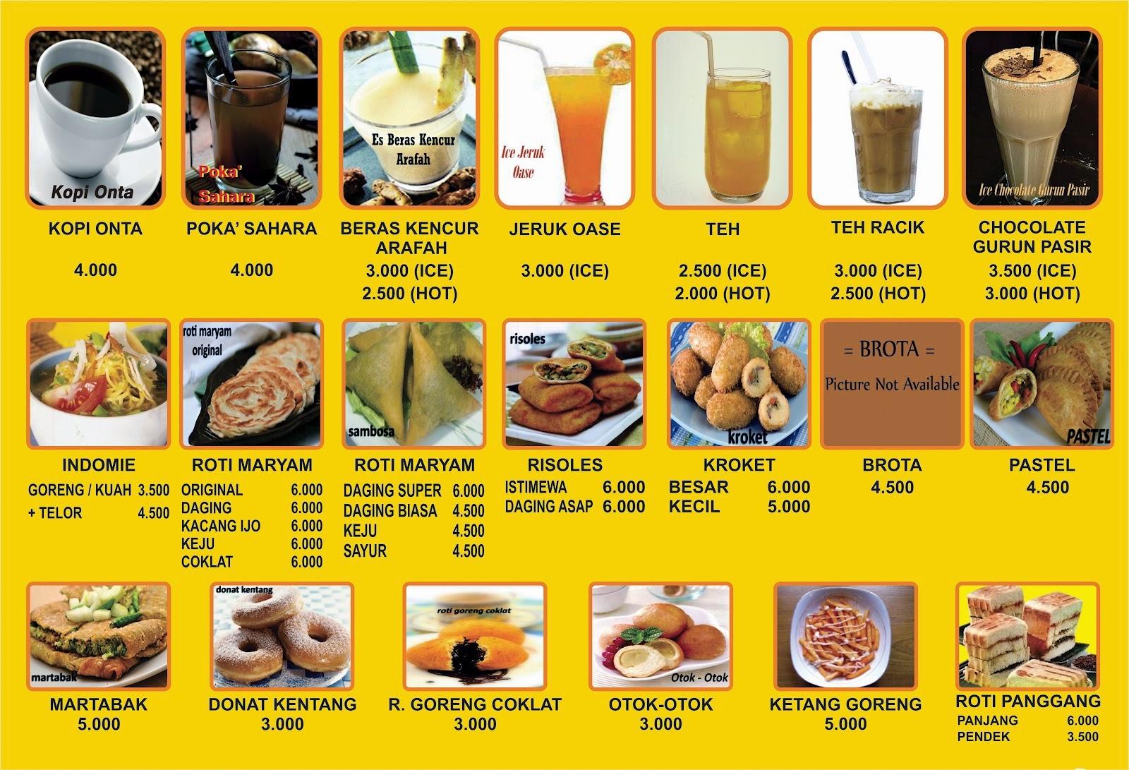 MENU CAFE : Konsep Menu makanan minuman CAFE
