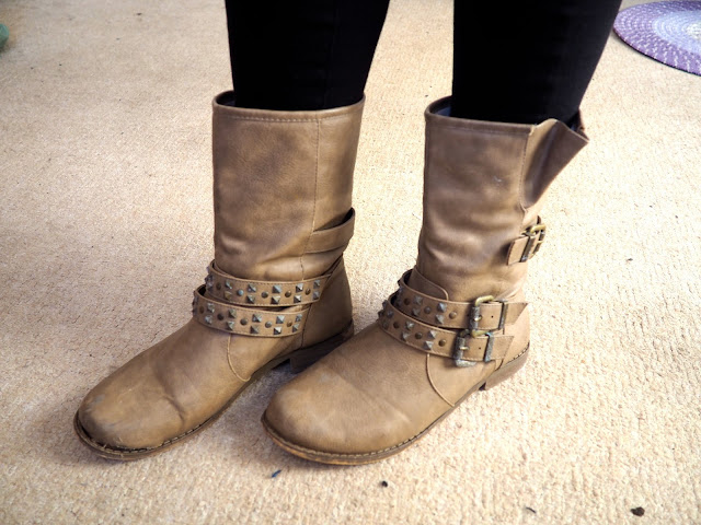 Heigh Ho - Grumpy inspired Disneybound outfit of shoe details of mid-calf chunky brown boots with straps and buckles