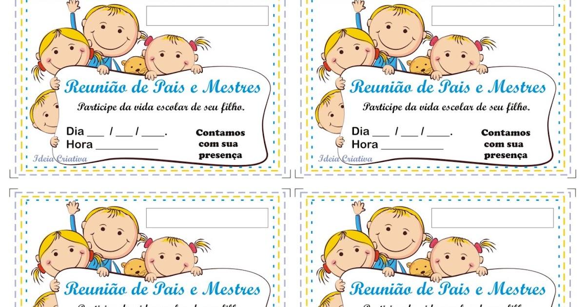 Modelo De Convite Para Reunião De Pais E Mestres
