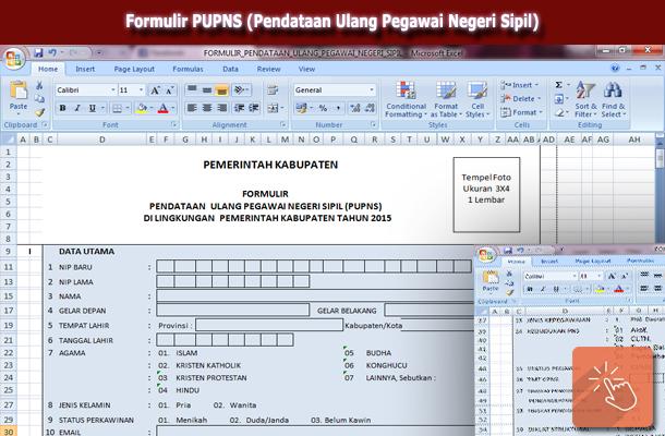 Formulir PUPNS (Pendataan Ulang Pegawai Negeri Sipil) Download Format Microsoft Excel