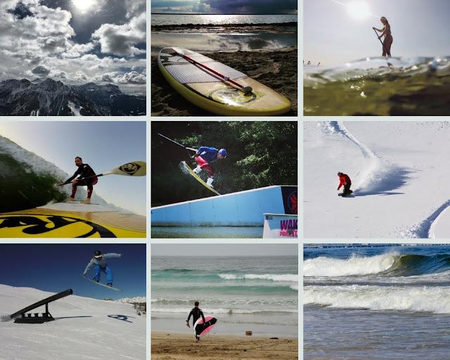 collage: snow, surf, wake