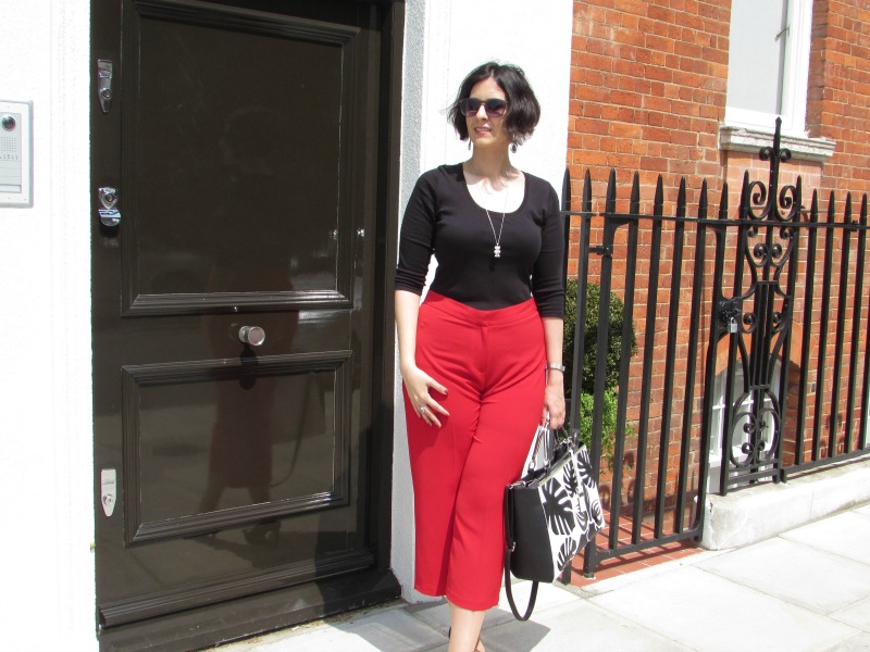 Styling red culottes