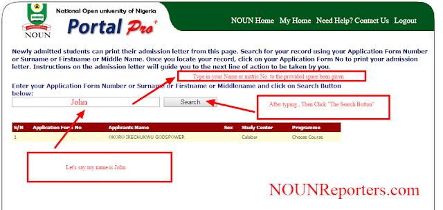 View Noun Admission List