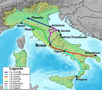 riassunto su Roma e sulle strade romane per le scuole primarie