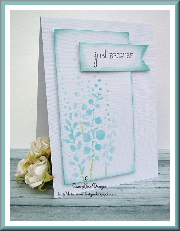 Just because,stencilling, bay leaf, blue, CAS