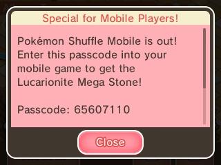 Pokémon Shuffle Mobile Lucarionite Mega Stone passcode