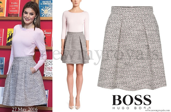 Queen Letizia wore Hugo Boss Rizalia Flare skirt