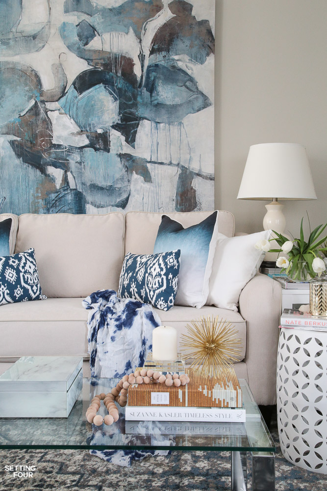 Blue Spring decor in living room