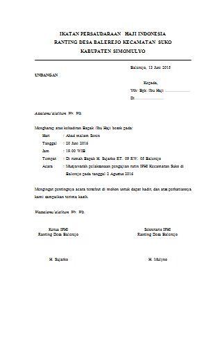 Contoh Surat Undangan Pertemuan Ikatan Persatuan Haji Indonesia