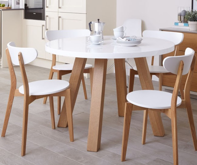 White Clean Round Dining Table