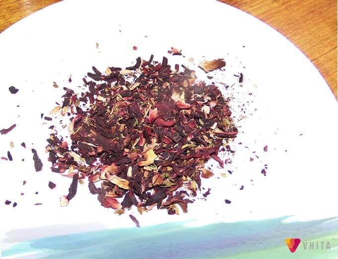 Chá Hibisco com folhas de Stevia