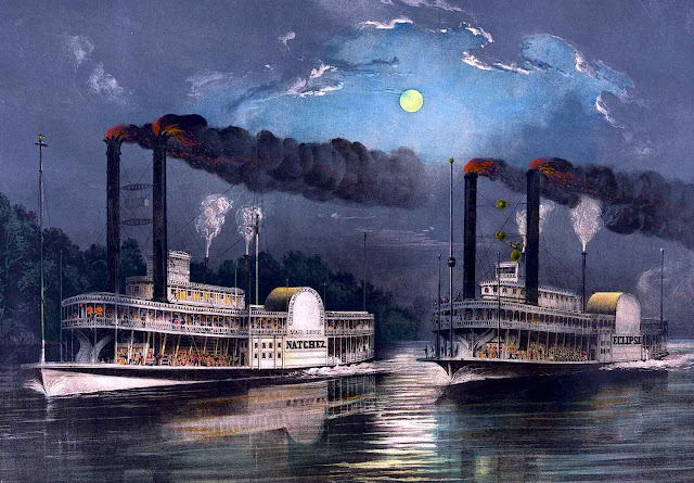 a Currier & Ives riverboat race
