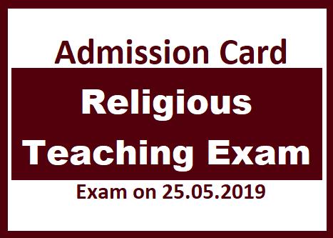 Admission Card : Religious Teaching Exam - Teacher