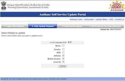 Aadhaar Data Update Fields