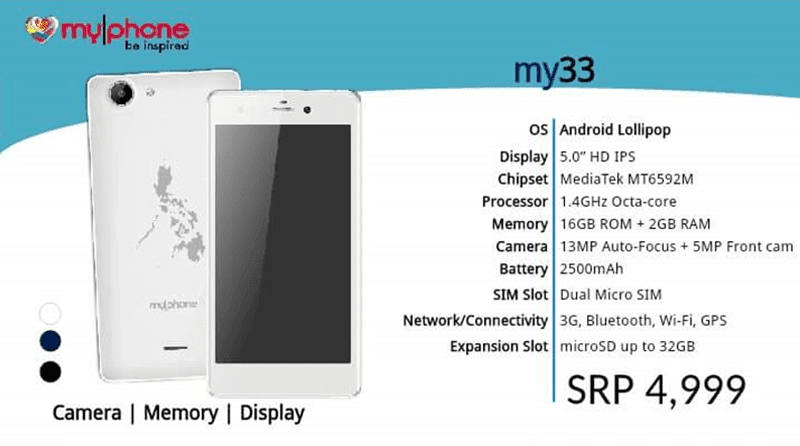 MyPhone My33 Also Leaks, Comes With 2 GB RAM, Octa Core And Lollipop Priced At 4999 Pesos!