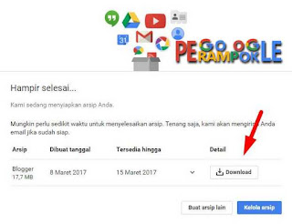 Klik download file backup bloggernya