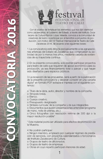 convocatoria teatro del calle zacatecas 2016