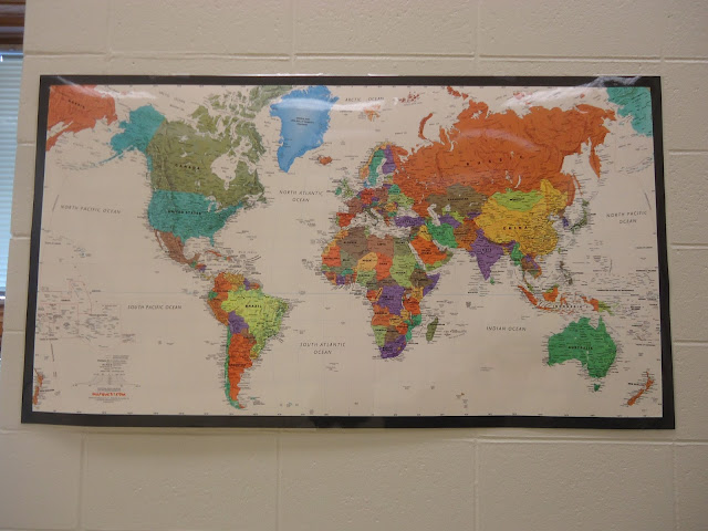 World map in orchestra classroom for field trips