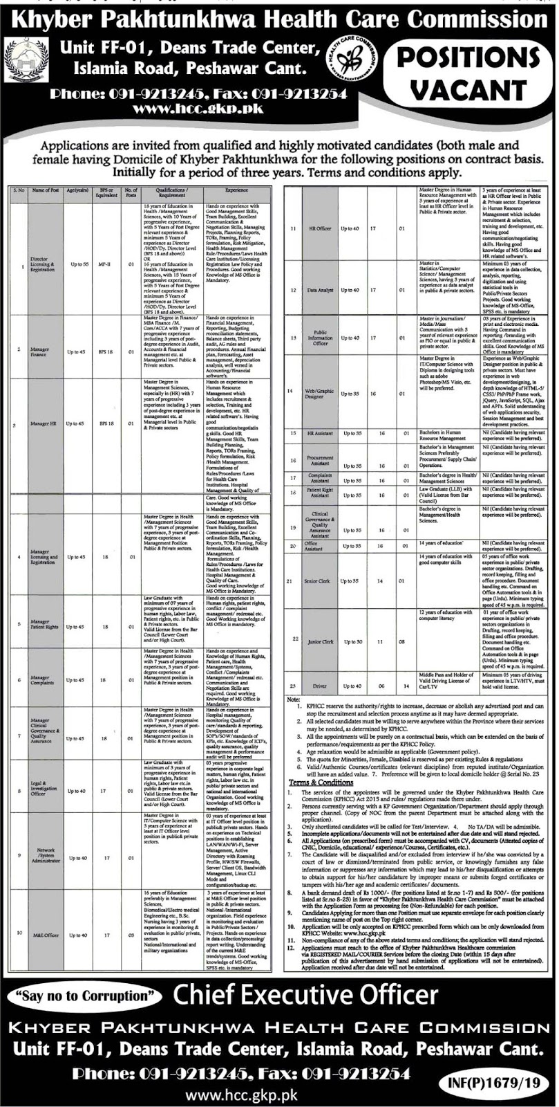 Khyber Pakhtunkhwa Health Care Commission KPHCC Jobs 2019
