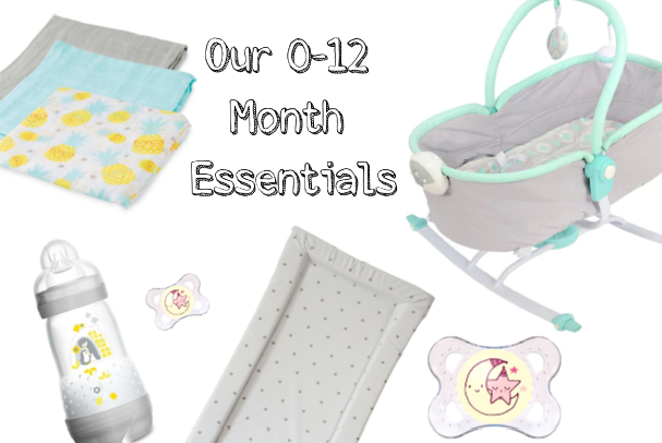 Image of the items we used most throughout the 0-12 month age group. Shows image of muslin cloths, mam dummy/ pacifier, mam anti colic bottles, pvc wipe clean changing mat and East Coast 2 in 1 Rocker.
