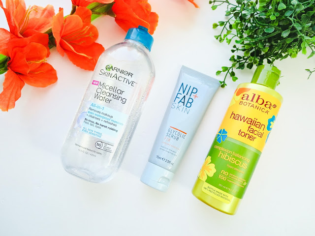 a picture of Summer Skincare Favorites; Garnier Micellar Cleansing Water, Nip+Fab Glycolic Scrub Fix, Alba Hawaiian Complexion Balancing Hibiscus Facial Toner