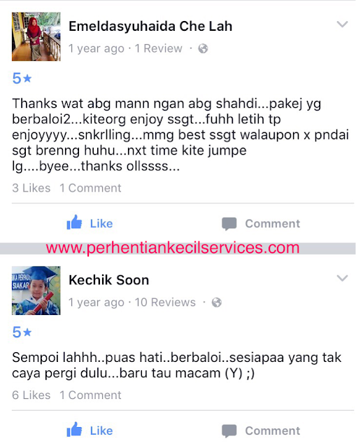 Testimonial atau review guest Perhentian Kecil Services.