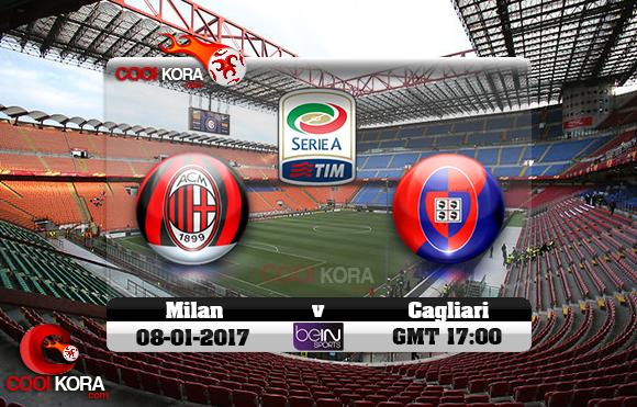 مشاهدة مباراة ميلان وكالياري اليوم 8-1-2017 في الدوري الإيطالي